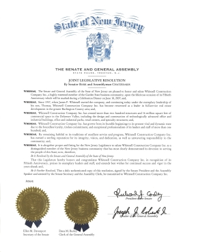 New Jersey Senate and General Assembly Joint Legislative Resolution Honoring Whitesell Construction